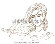hair blowing in wind stock illustrations