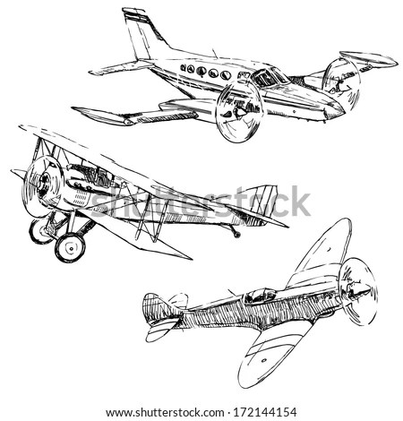 Propeller Airplanes Drawings On White Background Stock