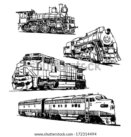 Drawings Trains On White Background Stock Vector 172314494