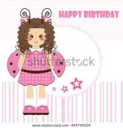 happy birthday greeting card kawaii