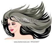 smiling girl face long black hair