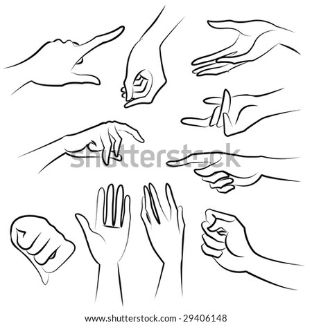 Hand Collection Vector Line Illustration Stock Vector