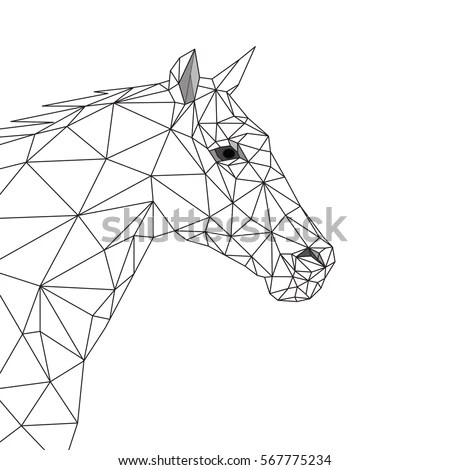 Geometric Horse Side View Black Lines Stock Vector