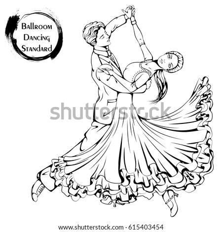 Vector Illustration Young Couple Dancing Classic Stock