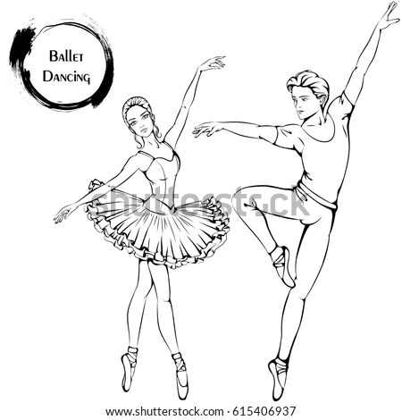 Vector Illustration Young Couple Dancing Ballet Stock