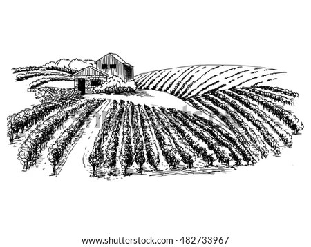 Hand Drawn Vector Rural Landscape Lodge Stock Vector