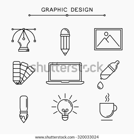 Vector Linear Graphic Design Icons Stock Vector 320033024
