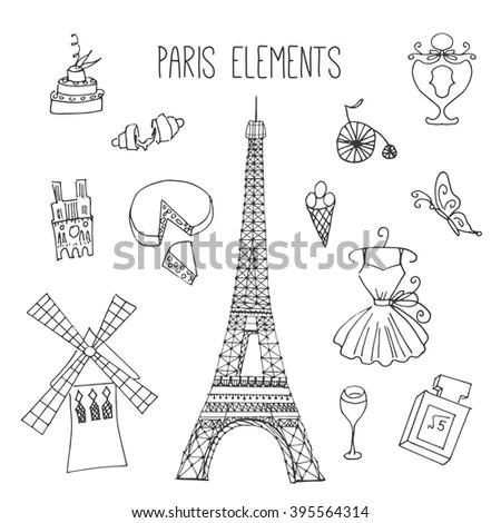 Paris Illustrations Hand Drawn France Elements Stock