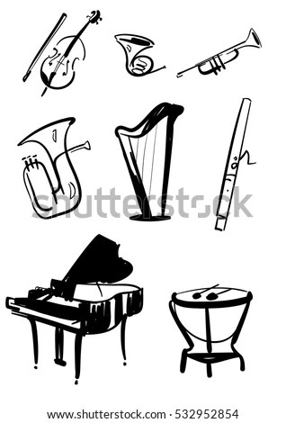 Classical Symphony Orchestra Musical Instruments Set Stock