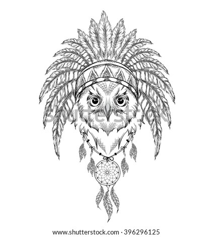 Tiger Indian Roach Indian Feather Headdress Stock Vector