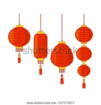 Traditional Chinese Lanterns Set Isolation Linear Stock ...