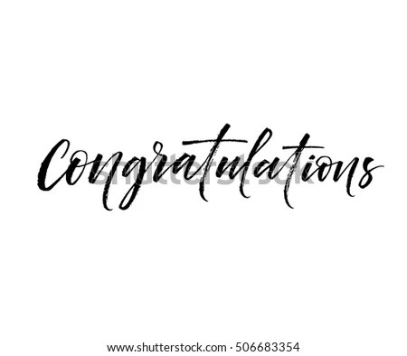 Congratulations Card Ink Illustration Modern Brush Stock