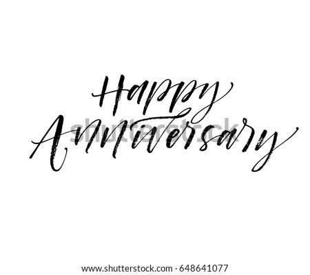 Happy Anniversary Card Ink Illustration Modern Stock