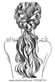 two french braid hairstyle stock