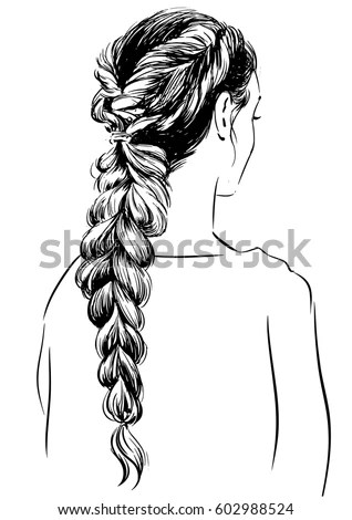 Woman Modern Braided Hairstyle Stock Vector 602988524