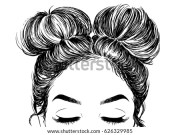 hairstyle double buns stock vector