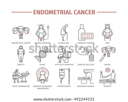 Ovarian Cancer Symptoms Causes Treatment Line Stock Vector