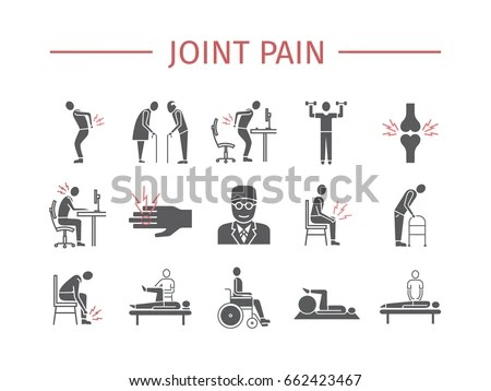 Joint Pain Icons Set Vector Signs Stock Vector 662423467