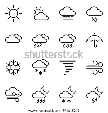 Weather Icons Vector Editable Strokes Stock Vector