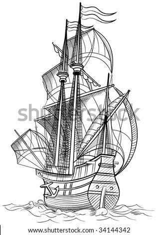 Sailing Ship Color Drawing Raster Illustration Stock