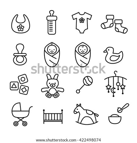 Collection Baby Icons Kids Toys Accessories Stock Vector