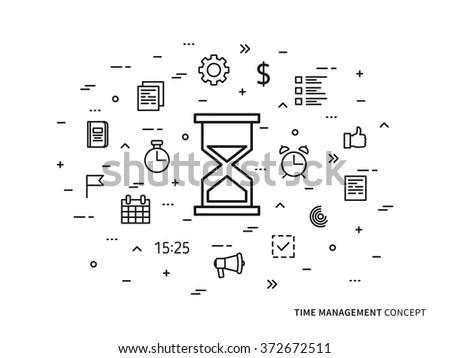 Time Management Concept Illustration Thin Line Stock