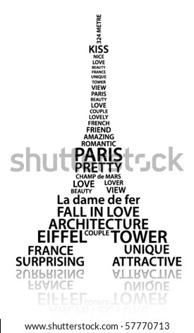 Abstract Eiffel Tower Made Words Which Stock Vector