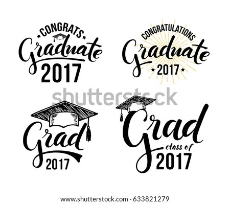 Graduation Wishes Overlays Lettering Labels Design Stock