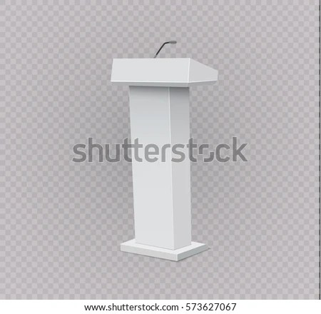 White Podium Tribune Rostrum Stands Microphones Stock