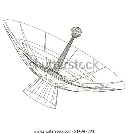Schematic Drawing Telescope Contours Frame Satellite Stock