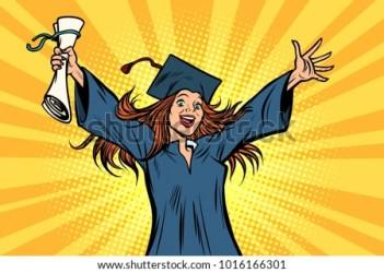 cartoon graduate student university college happy comic graduation pop vector illustration retro woman vectors illustrations clipart graduates creativemarket female shutterstock