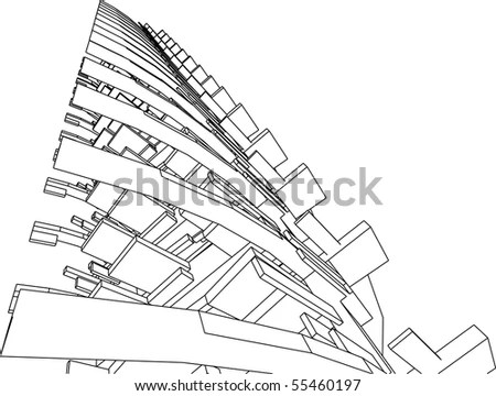 Technical 3d Draw Building On Green Stock Vector 8956111