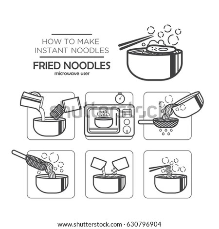 Cooking Instruction Icon Set Instant Noodles Stock Vector