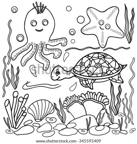 Seamless Background Starfish Seashells Pattern Can Stock