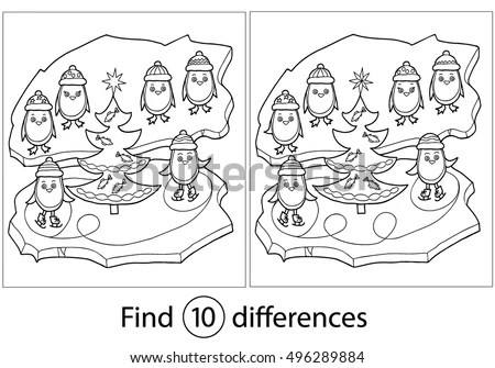 Find Differences Education Game Children Winter Stock