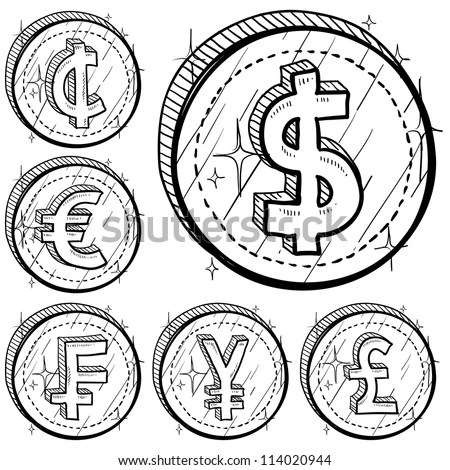 Doodle Style International Currency Symbol Coins Stock