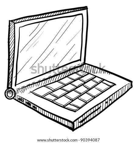 Cartoon Vector Outline Illustration Laptop Computer Stock