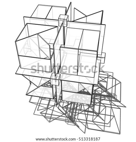3 D Wireframe Object Cube Architectural Volumetric Stock