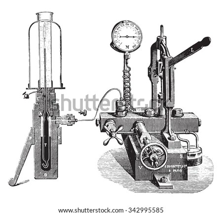 Apparatus for gas liquefaction, vintage engraved