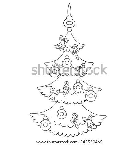 Girl Unwrapping Christmas Gifts Coloring Page Stock Vector