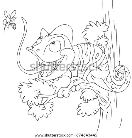 Coloring Book Page Chameleon Lizard Stylized Stock Vector