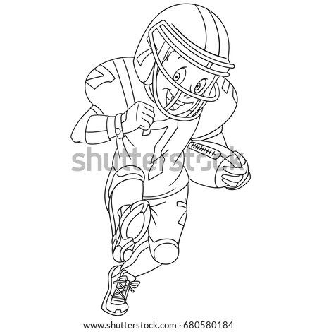 Coloring Page Boy Playing Rugby American Stock Vector