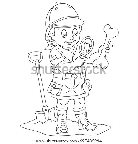 Coloring Page Cartoon Boy Archaeological Explorer Stock