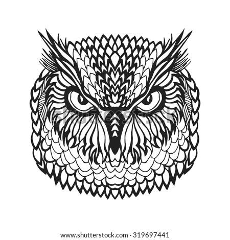 Owl Heads Set Black White Hand Stock Vector 461837008