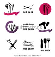 set hair salon logo labels design