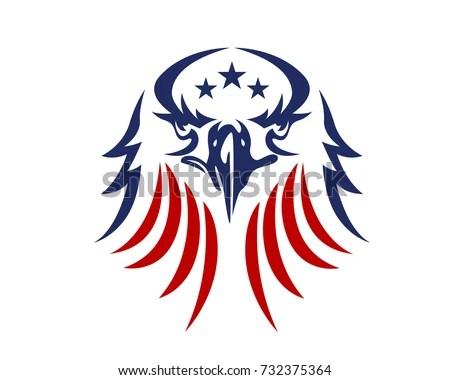 American Eagle Patriotic Logo Stock Vector 732375364