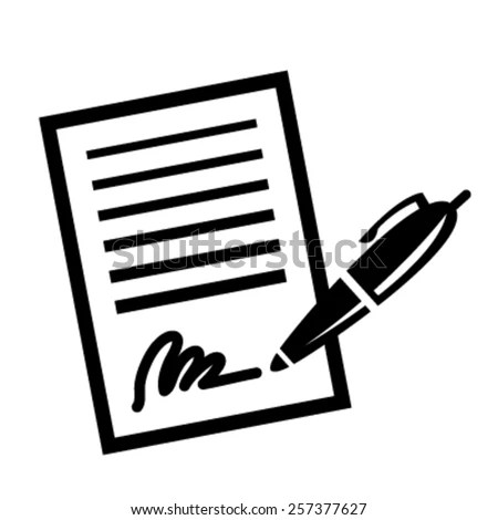 Paper Business Contract Pen Signature Vector Stock Vector