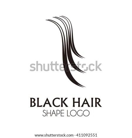 Black Curve Hair Abstract Vector Logo Stock Vector