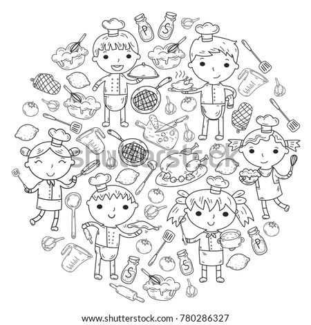 Cute Kids Chef On White Background Stock Vector 780286327