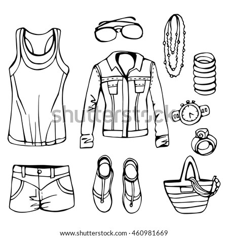 Different Types Mens Underwear Solid Fill Stock Vector